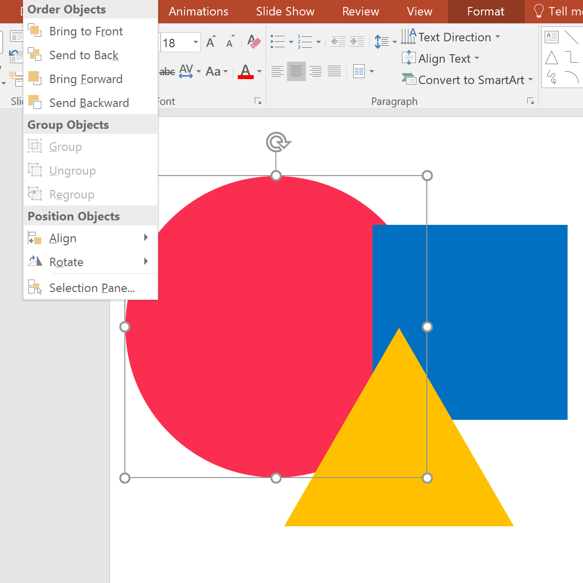 Order objects in PowerPoint