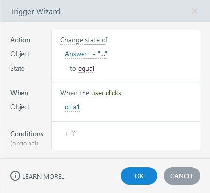 Create a trigger to change the state of the answer