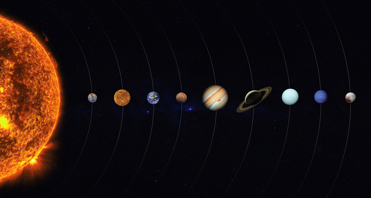 Solar system sun and planets